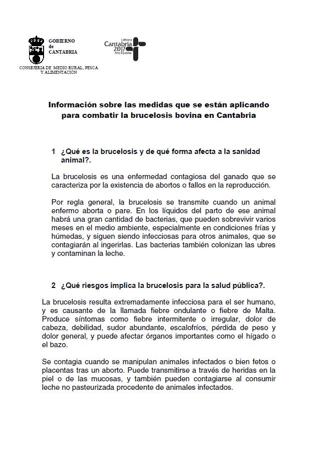 Informacion Sobre Las Medidas Que Se Estan Aplicando Para Combatir La Brucelosis Bovina En Cantabria Asaja Cantabria
